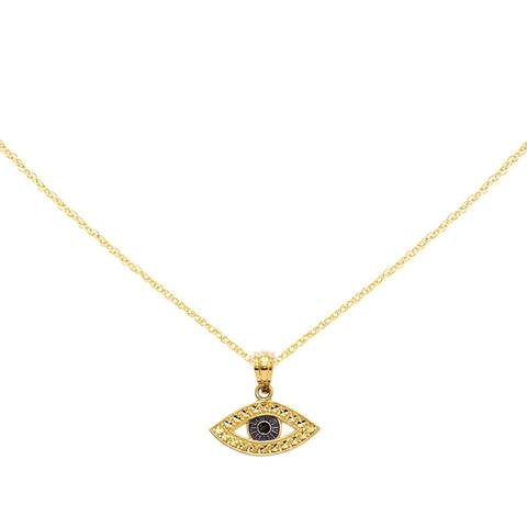 14K Yellow Gold Diamond Cut Enameled Eye Pendant with 18-inch Cable Rope Chain by Versil