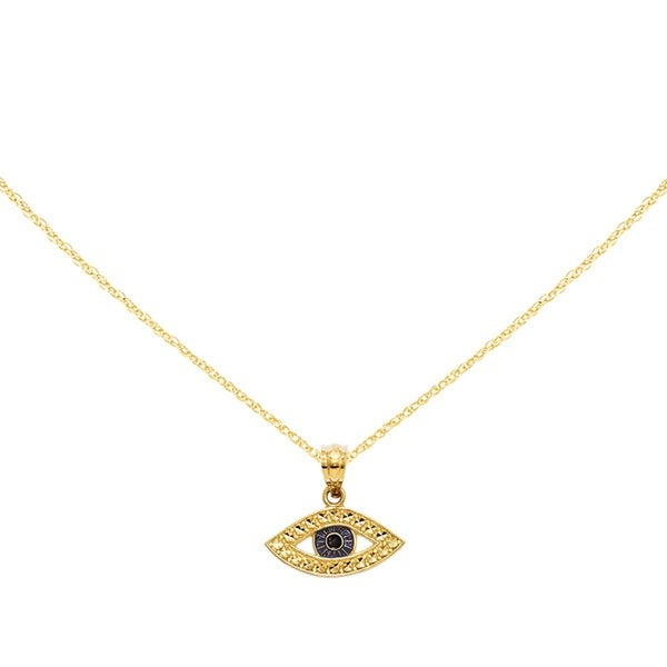14K Yellow Gold Diamond Cut Enameled Eye Pendant with 18-inch Cable Rope Chain by Versil. Opens flyout.