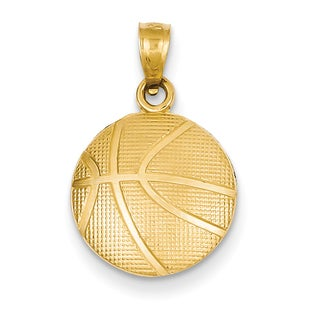 14k Yellow Gold Basketball Pendant with 18-inch Chain