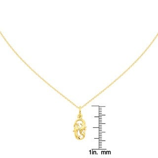 14 Karat Yellow Gold Pisces Zodiac Charm with 18-inch Chain