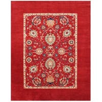 Herat Oriental Afghan Hand-knotted Vegetable Dye Transitional Oushak Wool Rug (7'10 x 9'9)