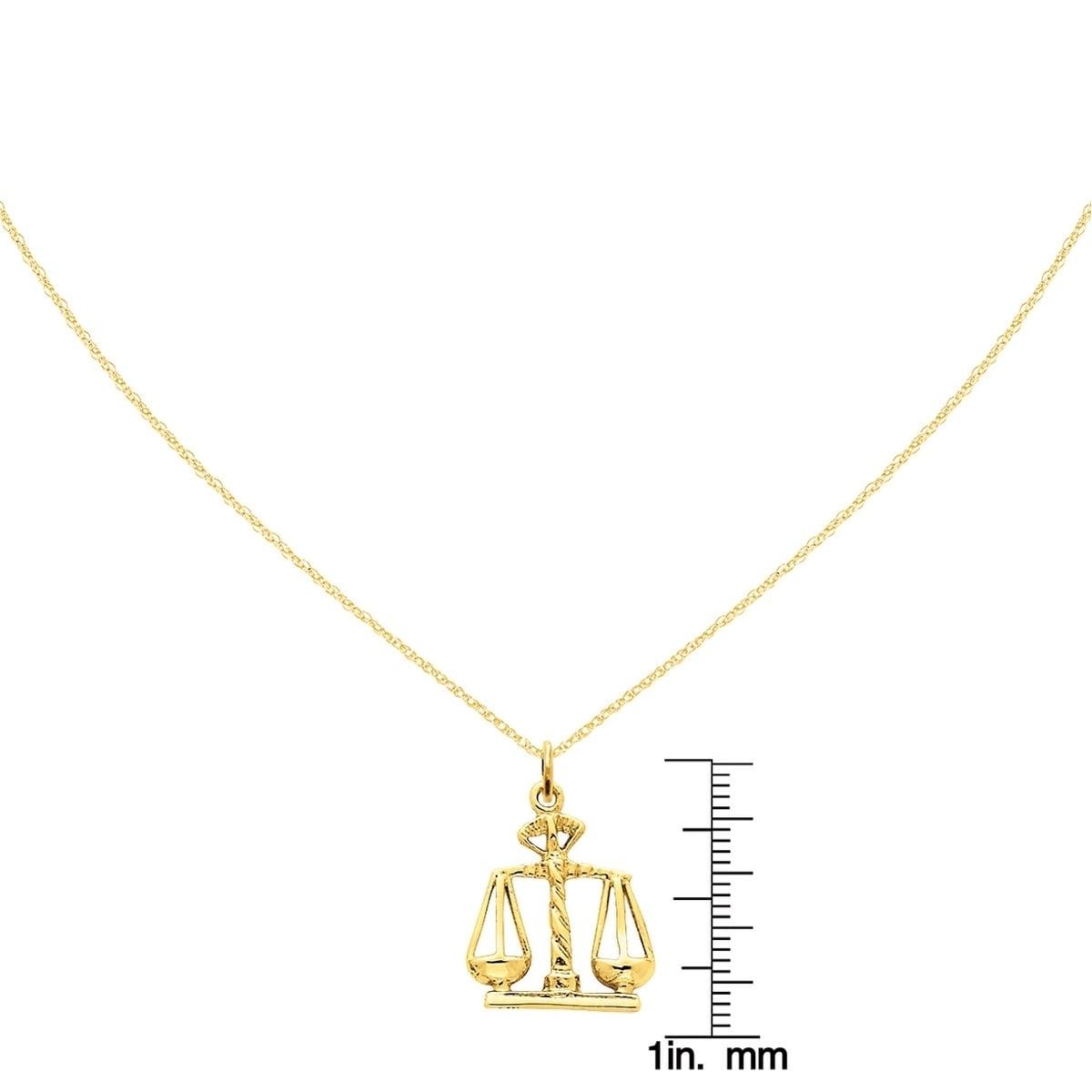 Bijoux, montres 14K Yellow Gold Scales Of Justice Charm A1493 Breloques, bracelets breloques