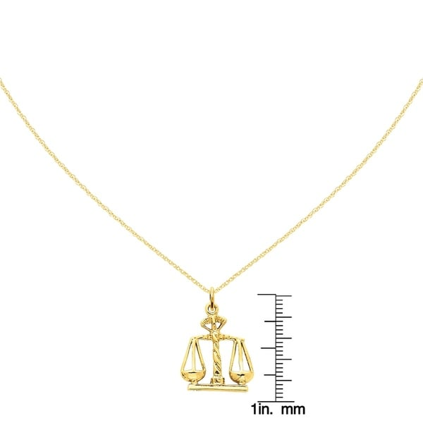 14k Yellow Gold Scales Of Justice Pendant