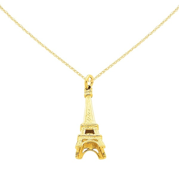 14 Karat Yellow Gold Eiffel Tower Charm from Versil with 18-Inch Chain