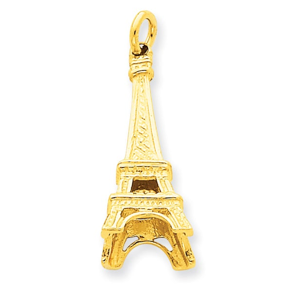 14 Karat Yellow Gold Eiffel Tower Charm With 18-Inch Chain