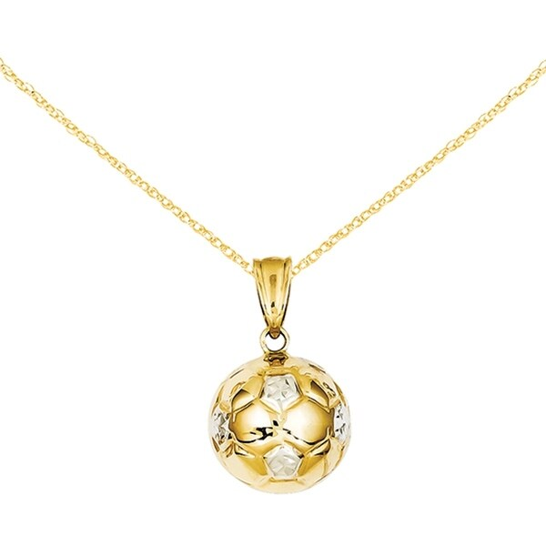 0d44b6f5f 14 Karat Yellow Gold and White Rhodium Soccer Ball Pendant from Versil with  18-inch