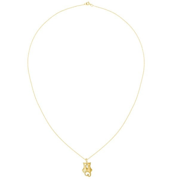 Solid 14k Yellow Gold Satin /& Polished Cats Pendant 24mm x 12mm