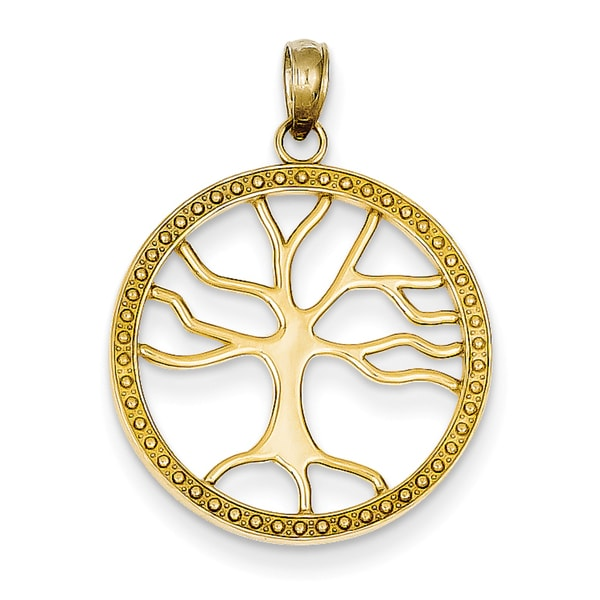 Shop 14 Karat Gold Tree of Life Round Frame Pendant with 18-inch ...