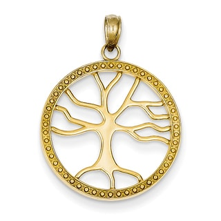 14 Karat Gold Tree of Life Round Frame Pendant with 18-inch Chain