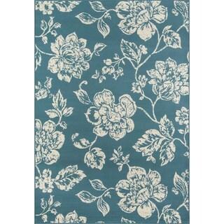 Momeni Baja Floral Blooms Blue Indoor/Outdoor Area Rug (5'3 x 7'6)
