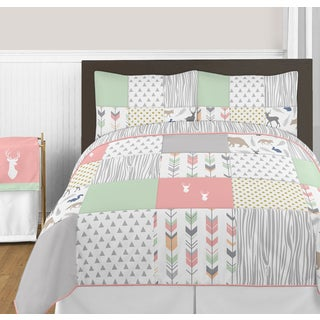 Sweet Jojo Designs Coral and Mint Woodsy Collection 3-piece Full/Queen Comforter Set