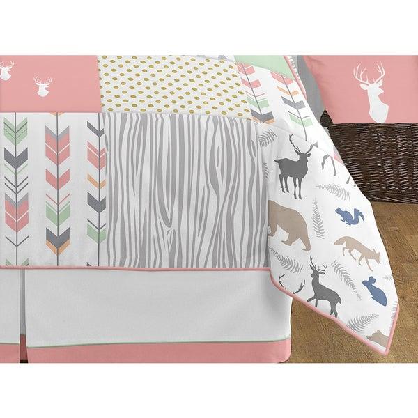Sweet Jojo Designs 3-Piece Coral Mint and Grey Woodsy Deer Girls Full//Queen Bedding Set