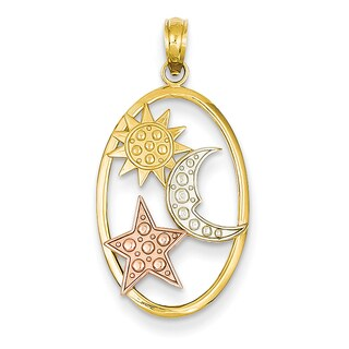 14 Karat Yellow and Rose Gold Sun, Moon and Star Oval Pendant
