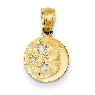 14k Yellow Gold Moon and Stars Pendant