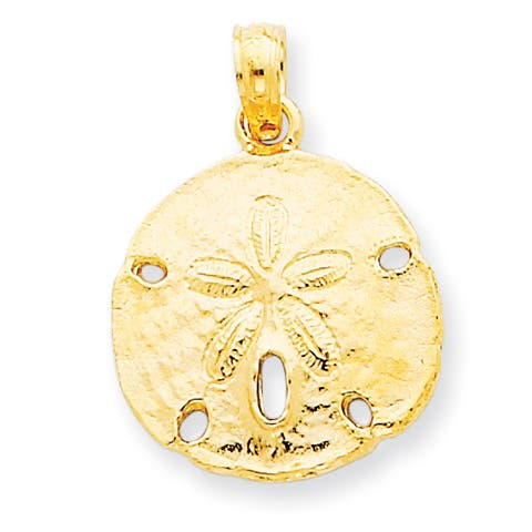 Versil 14 Karat Yellow Gold Sand Dollar Pendant with 18-inch Chain