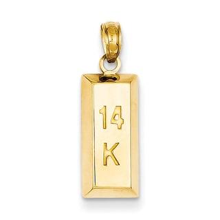 Versil 14 Karat 3 D Gold Bar Pendant With 18 Inch Chain
