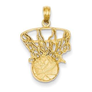 14 Karat YG Swoosh Basketball and Net Pendant with 18-inch Chain