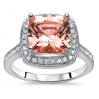 Noori Certified 14k White Gold 2 1/5 TGW Cushion-cut Morganite and 1/5ct TDW Diamond Engagement Ring (G-H, I1-I2)