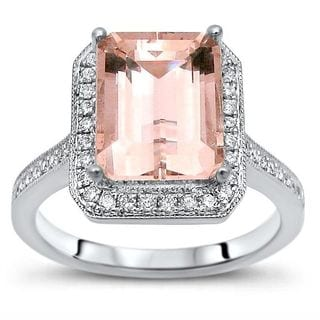 Noori Certified 14k White Gold 2 1/5 TGW Emerald-cut Morganite and 1/5ct TDW Diamond Accent Engagement Ring (G-H, I1-I2)
