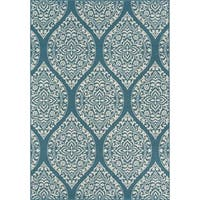 "Momeni Baja Arabesque Blue Indoor/Outdoor Area Rug - 6'7"" x 9'6"""