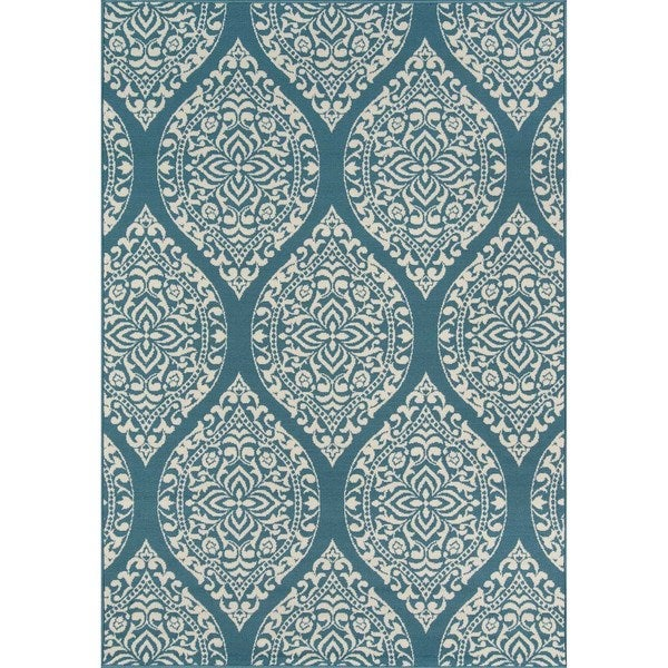 "Momeni Baja Arabesque Blue Indoor/Outdoor Area Rug - 7'10"" x 10'10"""