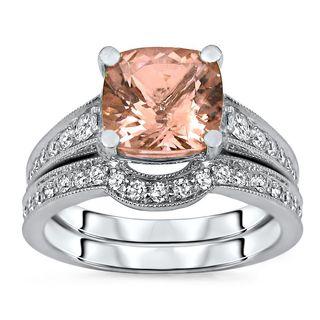 Noori Certified 14k White Gold Morganite and 1/2ct TDW Diamond Engagement Ring Set (H-I, I1-I2)