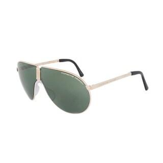Porsche Design P8480 A 66 Men's Unbreakable Foldable Light Gold Titanium Frame Green Mirror Lens Sunglasses
