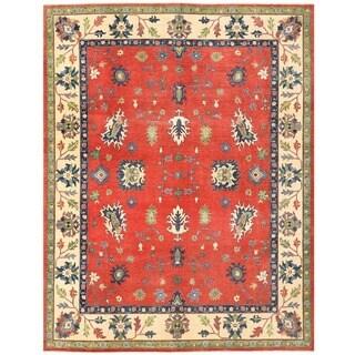 Herat Oriental Afghan Hand-knotted Vegetable Dye Oushak Wool Rug (9'2 x 11'9)