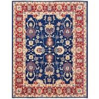 Handmade Herat Oriental Afghan Vegetable Dye Oushak Wool Rug - 8'11 x 11'8 (Afghanistan)