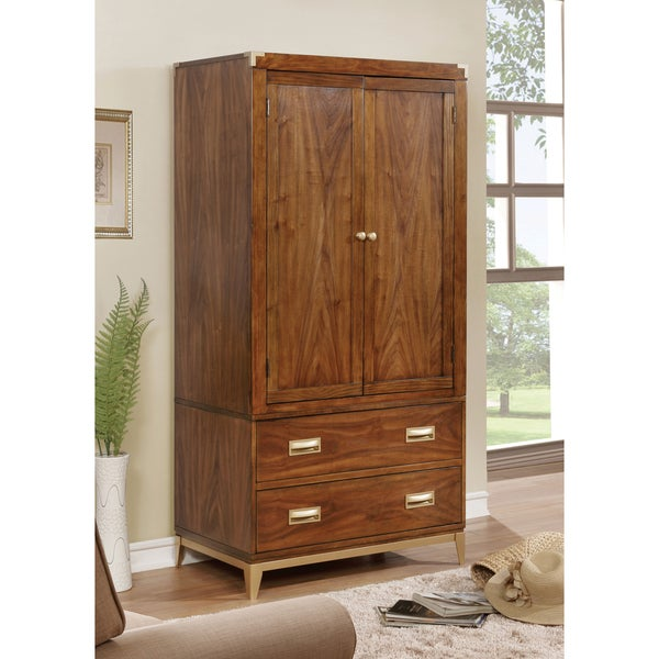 Furniture of America Tamelia Transitional Gold Tipped Dark Oak 2-drawer Double-door Armoire