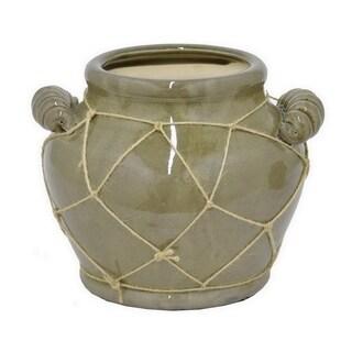 Three Hands Green Ceramic 8-Inch Flower Pot