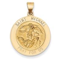 Versil 14k Saint Michael Medal Pendant with 18-inch Chain