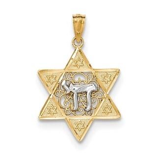 14 Karat Two-tone Gold Polish Star of David with Chai Pendant w/Chain