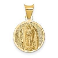 14k Yellow Gold Diamond-cut Lady of Guadalupe Circle Pendant