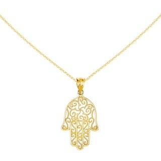 Versil 14k Filigree Hamsa Pendant with 18-inch Chain