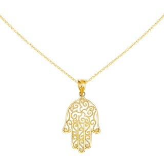 Versil 14 Karat Filigree Hamsa Pendant with 18-inch Chain