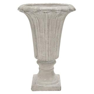 Benzara 16081 White Stone 10.5-inch Footed Urn