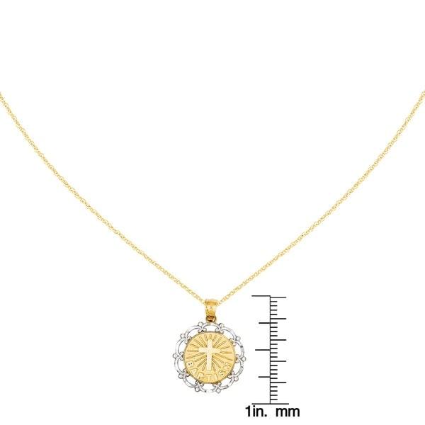 14k Yellow Gold Rhodium-plated Baptism Pendant 18mmx16mm