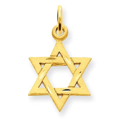 14 Karat Gold Solid Satin Star of David Charm with 18-inch Chain, by Versil