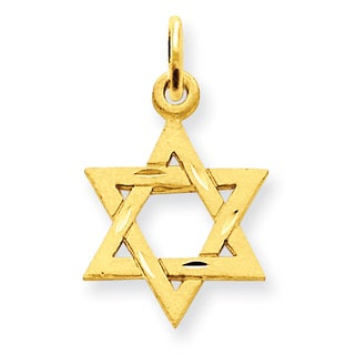 14 Karat Gold Solid Satin Star of David Charm with 18-inch Chain