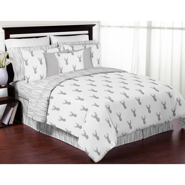 Sweet Jojo Designs Grey and White Stag Collection Full/Queen 3-piece Comforter Set