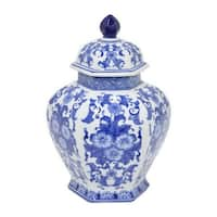 Blue and White Ceramic 12-inch Jar