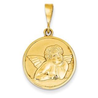 14k Gold Satin Angel Pendant
