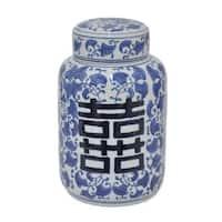 Benzara Blue/White Ceramic 11-inch Jar