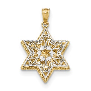 14k Two-tone Gold Polished Reversible Filigree Star of David Pendant with 18-inch Chain