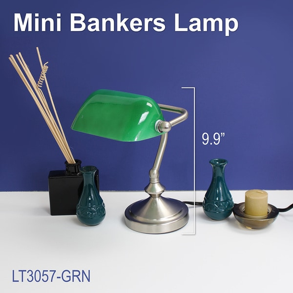Simple Designs Traditional Mini Banker's Lamp with Glass Shade ...