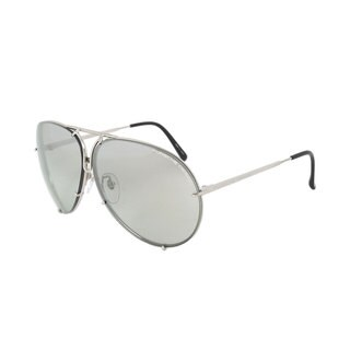 Porsche Design Aviator P8978 B 69 Men's Silver Titanium Frame Interchangeable Grey and Green Lens Sunglasses