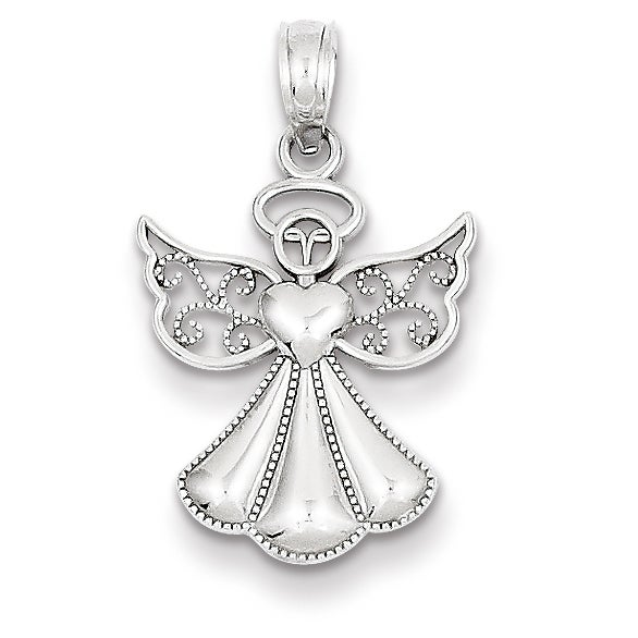 Shop 14k white gold polished textured guardian angel pendant by 14k white gold polished amp textured guardian angel pendant by versil aloadofball Image collections