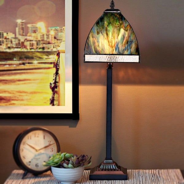 River of Goods Watercolor Stained Glass 25.25-inches High Bent Panel Table Lamp