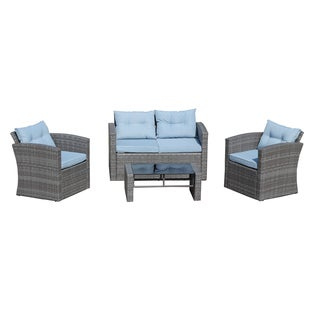Roatan 4 Piece Outdoor Wicker Conversation Set in Grey with Light Blue Cushions